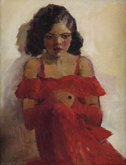 LAURA-WHEELER-WARING-(1887---1948)-Girl-in-Red-Dress