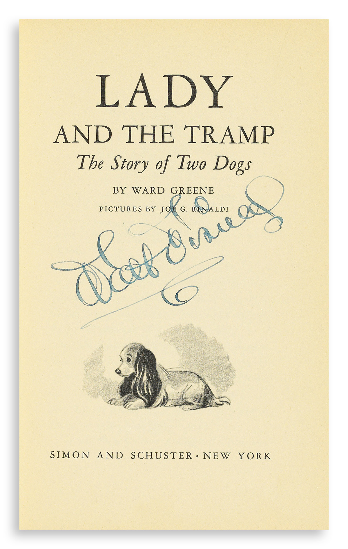 DISNEY-WALT-Ward-Greene-Lady-and-the-Tramp-Signed-on-the-tit