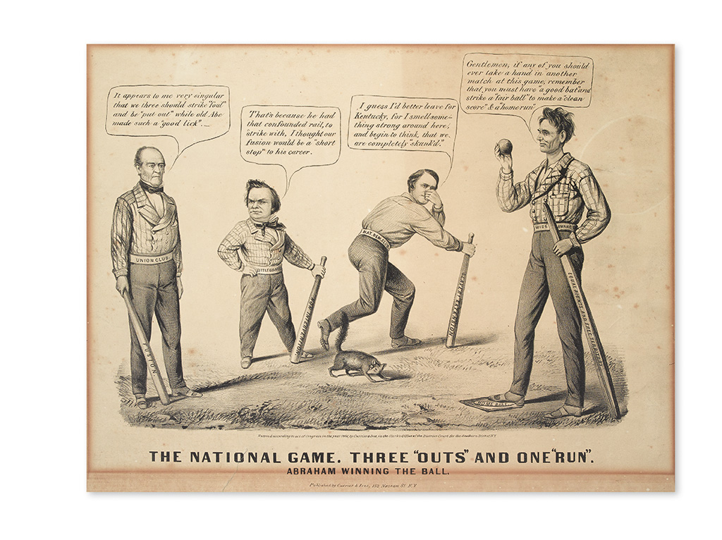 (LINCOLN, ABRAHAM--PRINTS.) [Maurer, Louis; artist?] The National Game. Three Outs and One Run. Abraham Winning the Ball.