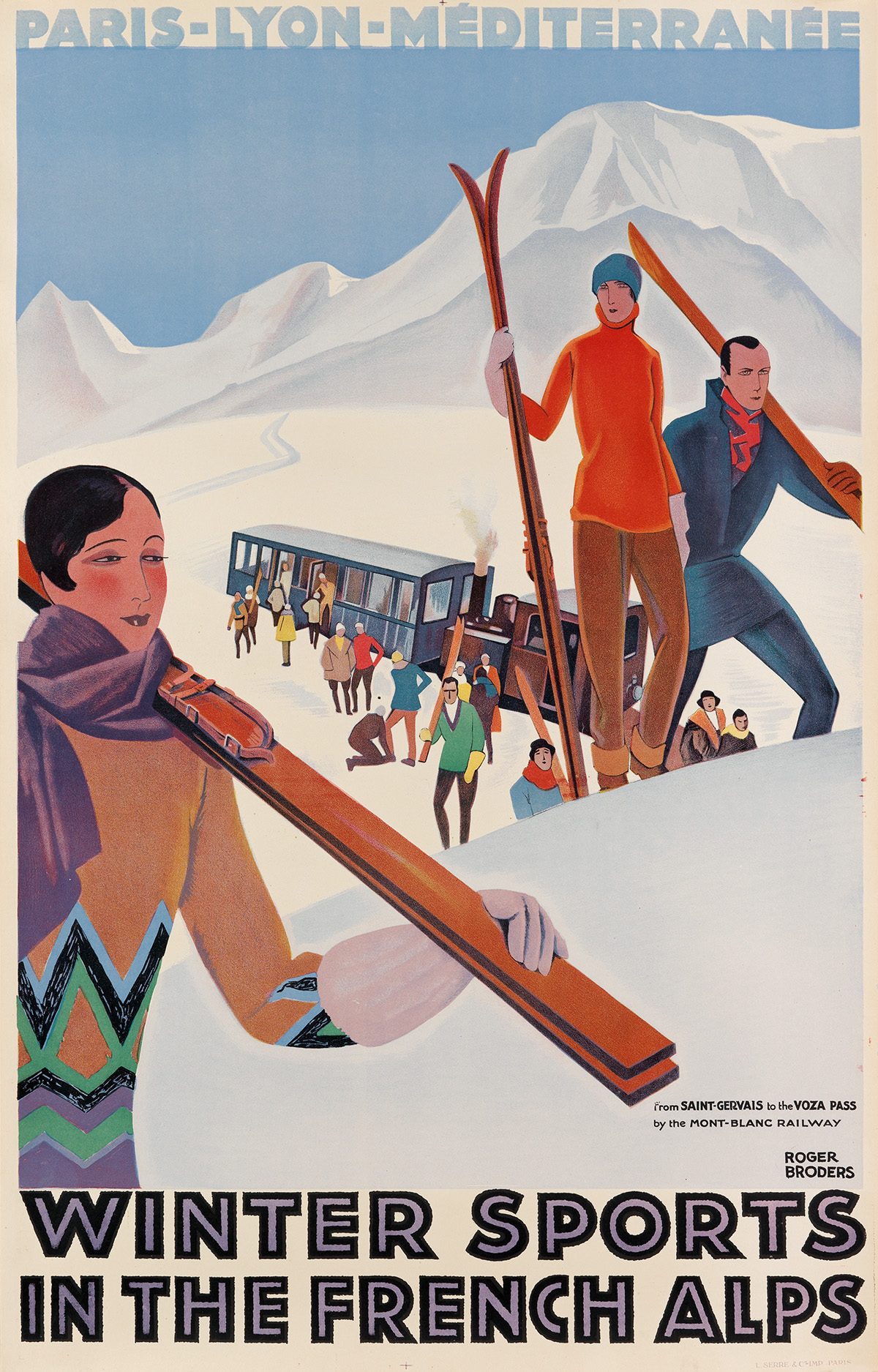 ROGER-BRODERS-(1883-1953)-WINTER-SPORTS-IN-THE-FRENCH-ALPS-Circa-1929-40x25-inches-101x64-cm-Lucien-Serre-Paris