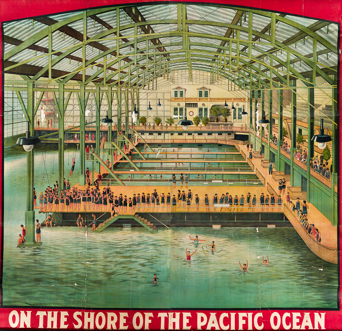 DESIGNER UNKNOWN. [SUTRO BATHS] / ON THE SHORE OF THE PACIFIC OCEAN. 1896. 78x80 inches, 198x203 cm.