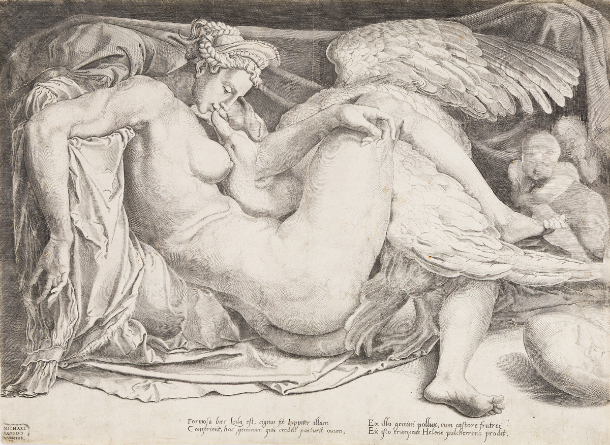 CORNELIS BOS (after Michelangelo)  Leda and the Swan
