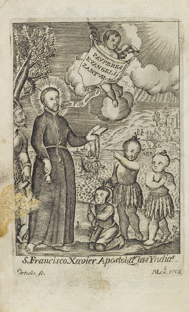 Engraved frontispiece of St. Francis Xavier