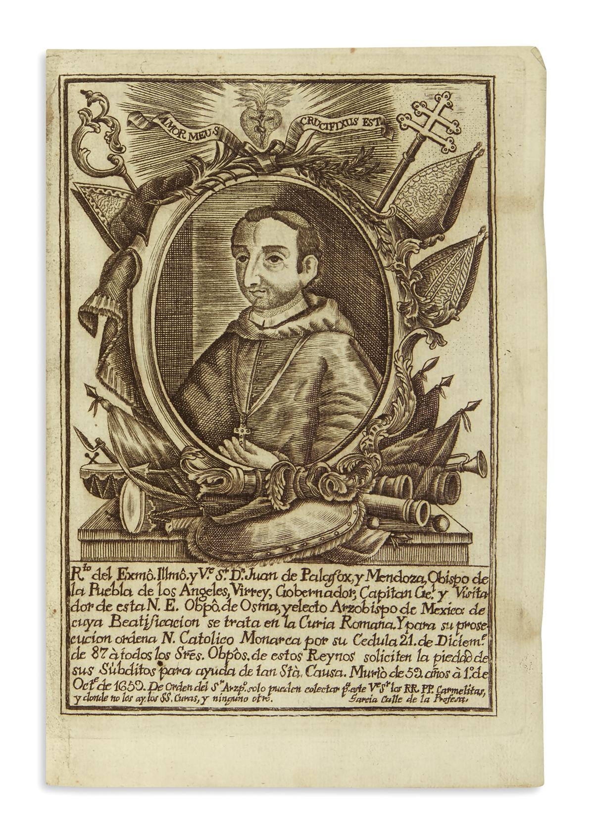Engraved frontispiece plate of Juan de Palafox y Mendoza, Bishop of Puebla