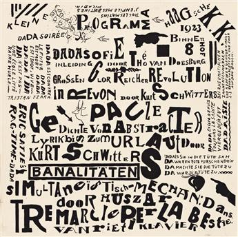 KURT SCHWITTERS (1887-1948) & THEO VAN DOESBURG (1883-1931).  KLEINE DADA SOIRÉE. Proof. 1922. 11¾x11¾ inches, 30x30 cm.
