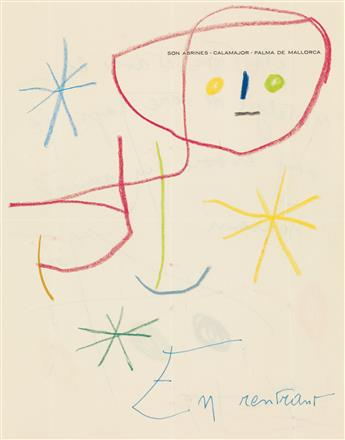 JOAN MIRÓ. Illustrated Autograph Note Signed, Miró, to MoMA Director of Exhibitions and Publications Monroe Wheeler, i...