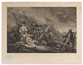 (AMERICAN REVOLUTION.) James Mitan, engraver; after Trumbull. The Battle of Bunker's Hill, near Boston.