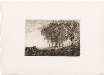 JEAN-BAPTISTE-CAMILLE COROT Two etchings.