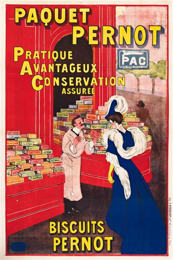 LEONETTO CAPPIELLO (1875-1942).  PAQUET PERNOT / BISCUITS PERNOT. 1910. 62½x42 inches, 158¾x106½ cm. P. Vercasson, Paris.