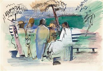 NORMAN LEWIS (1909 - 1979) Untitled (New York Park Crowd).