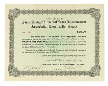 GARVEY, MARCUS. 5 stock certificates for shares in several of Marcus Garveys businesses.