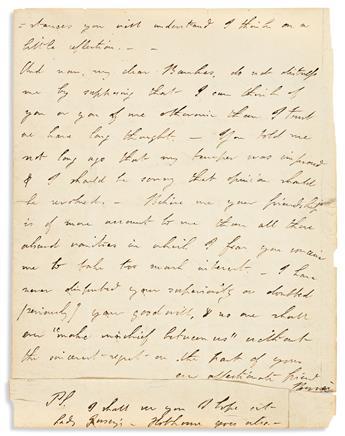 "BYRON, GEORGE GORDON NOEL. Autograph Letter Signed, ""Byron,"" to his Cambridge classmate William John Bankes,"