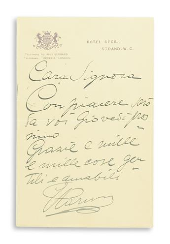 CARUSO, ENRICO. Archive of 47 letters, each Signed, ECaruso, Caruso, Enrico Scatolaruso, Carusetto, Carusotto, Enrico, Bis