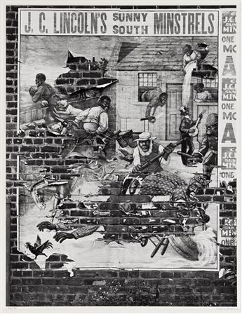 WALKER EVANS (1903-1975) Doorway, 204 West 13th Street, New York City * Minstrel Poster, Alabama * Stamped Tin Relic, New York City.