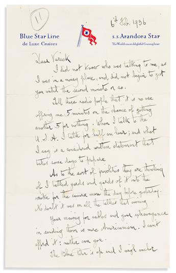 SHAW, GEORGE BERNARD. Autograph Letter Signed, G. Bernard Shaw, to George Sylvester Viereck,