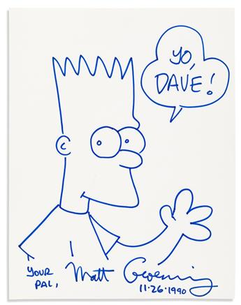 (COMICS.) Three items: Matt Groening. Ink drawing Signed, showing Bart Simpson * Bobby London. Ink drawing Signed, showing Popeye * Por