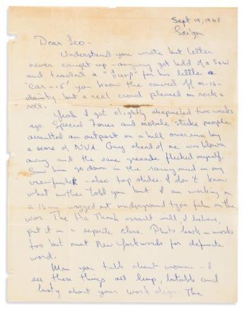 FLYNN, SEAN. Autograph Letter Signed, Sean, to Dear Leo,
