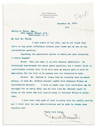 BRANDEIS, LOUIS D. Three letters, each to Philip P. Wells: Two Typed Letters Signed * Autograph Letter Signed.