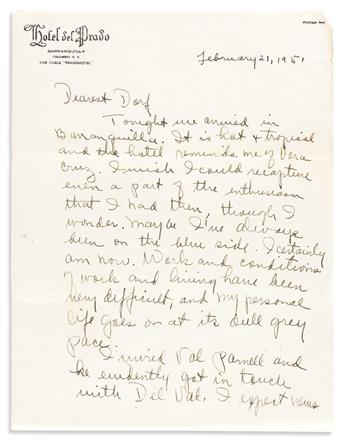 Dunham, Katherine (1909-2006) Small Archive of Letters and Other Correspondence, 1948-1957.