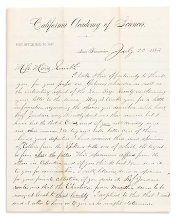 Smith Eigenmann, Rosa (1858-1947) Large Archive of Correspondence, 1882-1899.