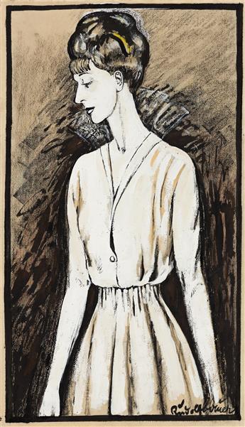RUDOLF BAUER (1889 - 1953, GERMAN/AMERICAN) Untitled, (Three Quarter Female Portrait).