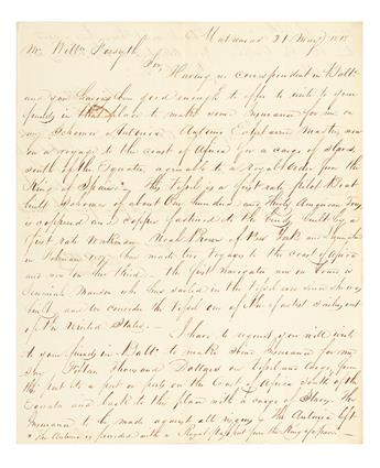 (SLAVERY AND ABOLITION.) SLAVE SHIP OWNERS. Autograph Letter from a Mr. L. Atring [?] to William Forsyth regarding $15,000 insurance a
