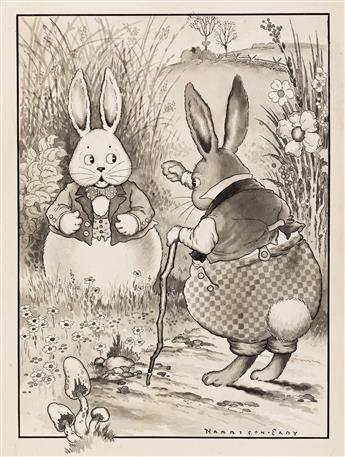"""HARRISON CADY (1877-1970) """"Peter Rabbit was very indignant."""" [CHILDRENS / RABBITS]"""