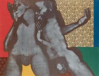 DAVID HAMMONS (1943 -   ) Untitled (Double Body Print Collage).