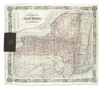 COLTON, G.W. & C.B. Coltons Railroad & Township Map of the State of New York, with Parts of the Adjoining States and Canada.