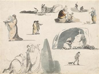 WILLIAM-PAYNE-(Exeter-1760-1830-London)-Sheet-of-Studies-wit