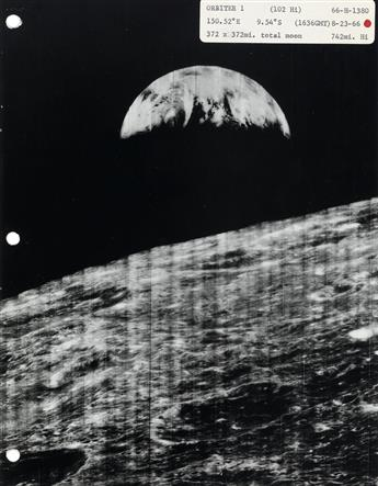(N.A.S.A.) A pair of lunar orbiter albums with approximately 90 photos of the Moons surface.