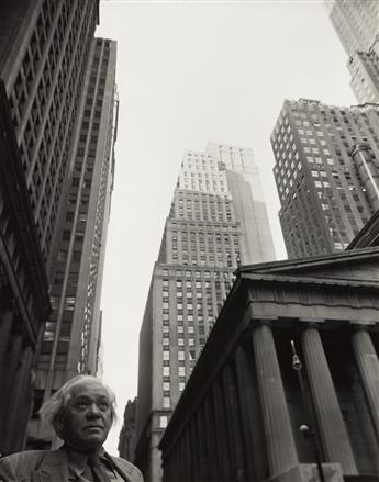 ARNOLD NEWMAN (1918-2006) Abraham Walkowitz in front of New York Stock Exchange * Portrait of Ibram Lassaw.