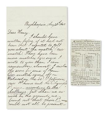 (SPORTS--BASEBALL.) Richmond, William. Letters concerning the amateur Poughkeepsie Junior Base Ball Club and the Civil War.