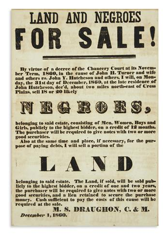 (SLAVERY AND ABOLITION.) Land and Negroes for Sale