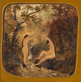 LOUIS EILSHEMIUS Two Bathers at a Stream.