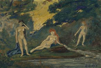 LOUIS EILSHEMIUS Three Nudes under a Yellow Sky.