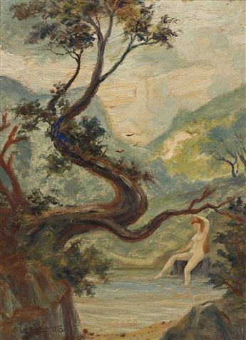 LOUIS EILSHEMIUS Nude Bathing under a Tree.