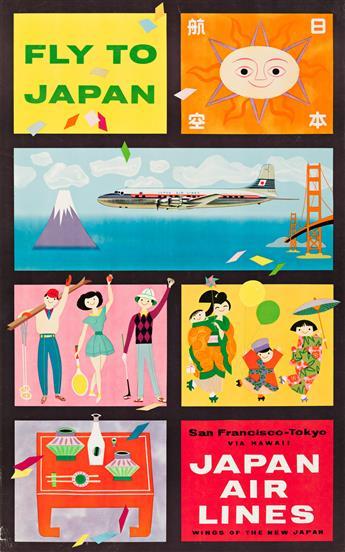 Designer Unknown.  FLY TO JAPAN / JAPAN AIR LINES / SAN FRANCISCO - TOKYO. Circa 1955.