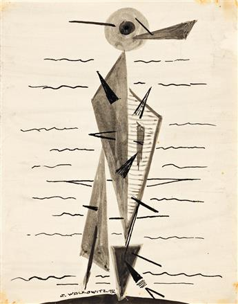 ABRAHAM WALKOWITZ (1878-1965) Three ink drawings of abstract compositions.
