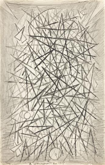 ABRAHAM WALKOWITZ (1878-1965) Group of 5 pencil drawings of abstract compositions.