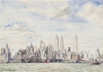 REGINALD MARSH Lower Manhattan Skyline.