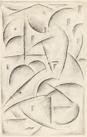 ABRAHAM WALKOWITZ (1878-1965) Two abstract pencil drawings.