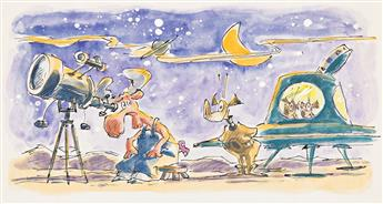 """LEE LORENZ (1933- ) """"One night while I was watching the stars a flying saucer landed right next to me."""" [CHILDRENS]"""