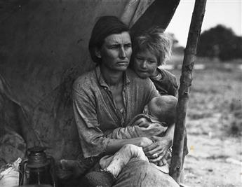 DOROTHEA LANGE (1895-1965) Migrant Mother with child at breast * Migrant Mother with two children.