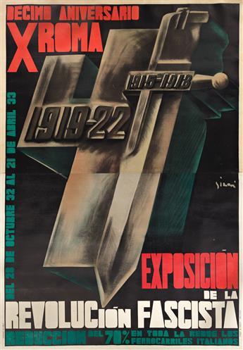 MARIO SIRONI (1885-1961).  EXPOSICION DE LA REVOLUCION FASCISTA. 1932. 77x53¾ inches, 195½x136½ cm. Pizzi & Pizio, Milan.