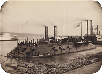 (CIVIL WAR) The Ironclad U.S.S. Carondelet with her crew.