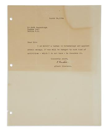 (SCIENTISTS.) EINSTEIN, ALBERT. Two Brief Typed Letters Signed, A. Einstein, to editor of the Old Farmers Almanac Robb Sagendorph.
