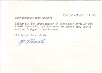 (SCIENTISTS)-OBERTH-HERMANN-Two-items-each-Signed-H-Oberth-each-on-a-postcard-to-László-Magyar-in-German--Brief-Typed-Letter