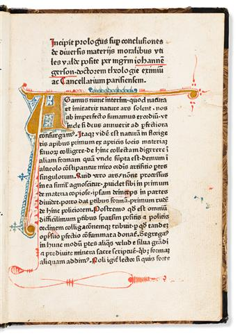 Gerson, Johannes (1363-1429) Conclusiones de Diversis Materiis Moralibus, sive de Regulis Madatorum.