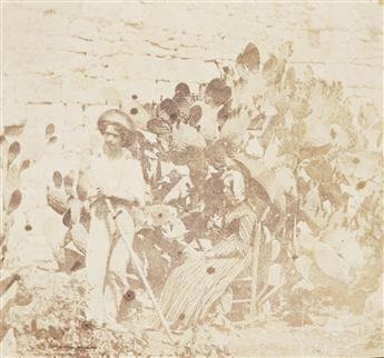 CALVERT RICHARD JONES (1804-1877) Beach view with boats, Malta * A man and woman, seated among prickly pear cactus, Valetta, Malta.